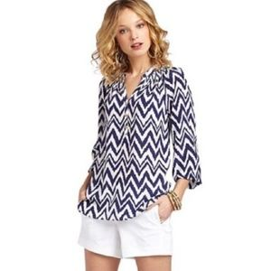 Lilly Pulitzer 100% Silk Chevron Elsa Blouse